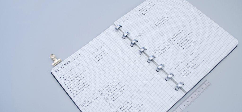 double page hebdomadaire pour gestion de projets