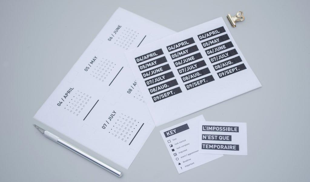 fichiers à imprimer Q2 stickers calendrier