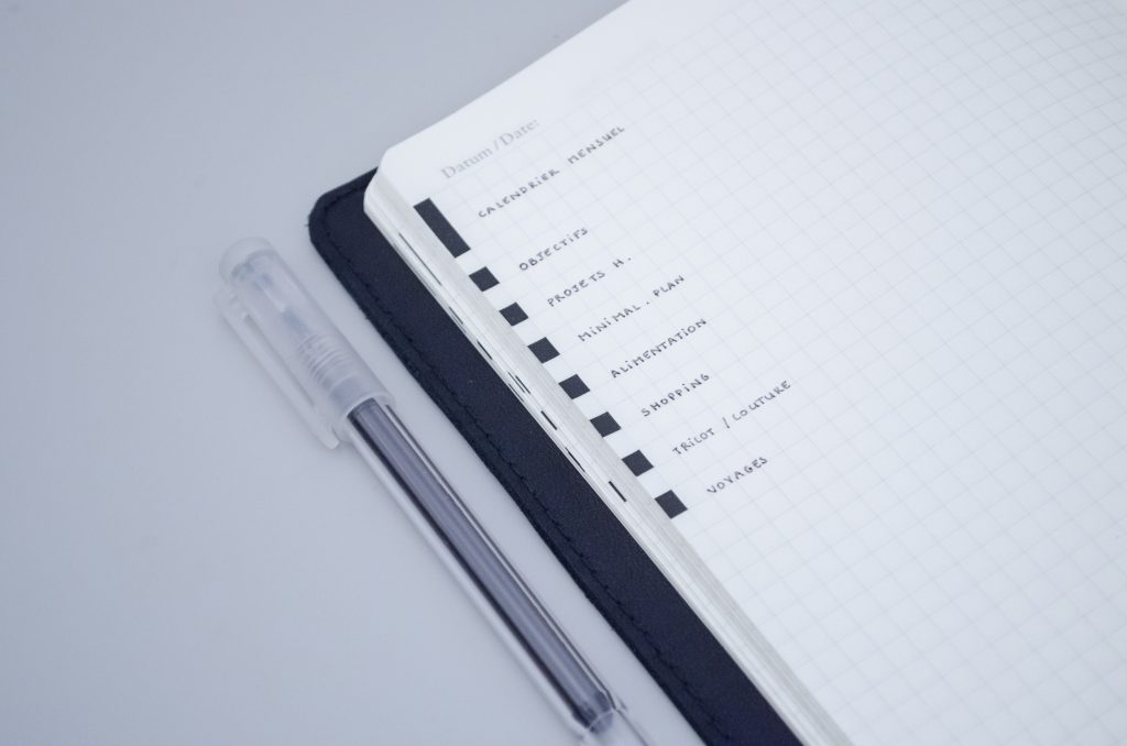 bullet journal edge indexing key
