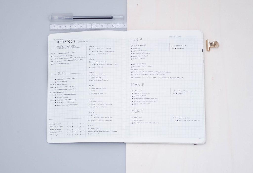 page hebdomadaire Bullet Journal, modèle minimaliste avec food log et trackers