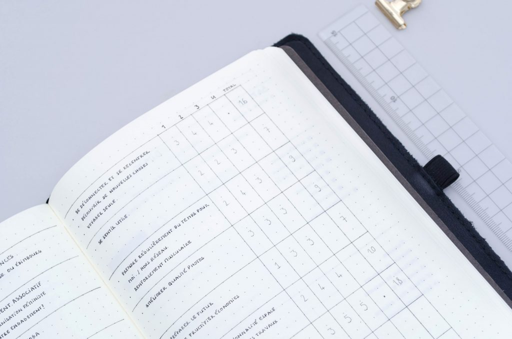 ranking a list, prioritizing, goal set up in a bullet journal