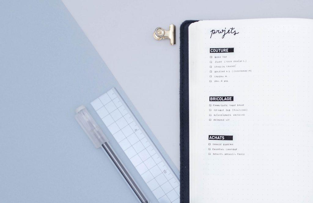liste de tâches, management de projet bullet journal, gestion de projets