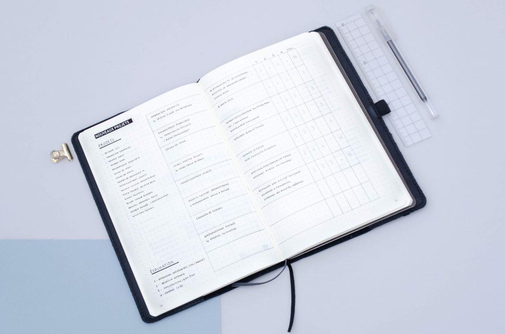 management projet bullet journal, gestion de projet