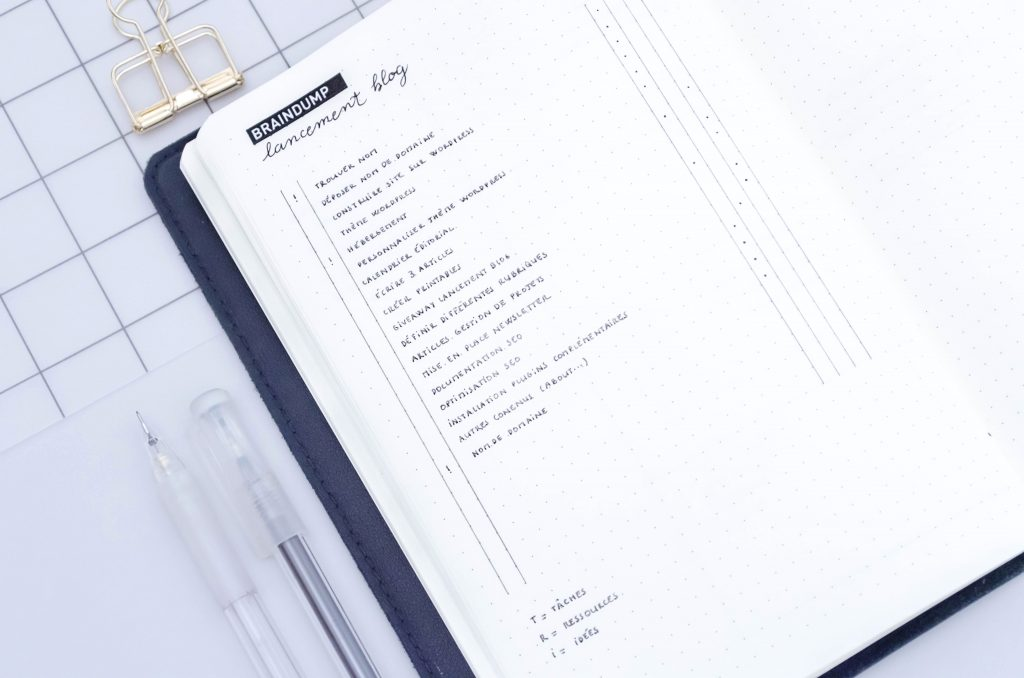 project management, bullet journal, braindump