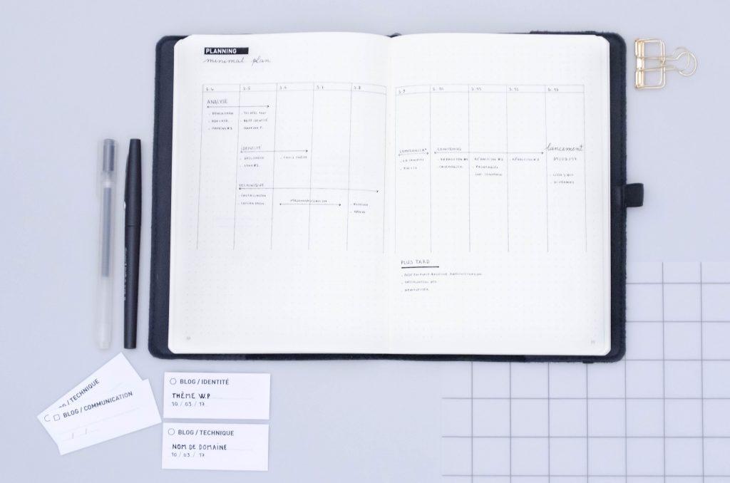 plan d'action, gestion de projet, bullet journal